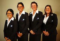 Australian women (from left), Christina Mew, Ashley Onar, Breanna Elliott and Emma Ash. Trans-Tasman NZ teams at Royal Wellington Golf Club, Wellington, New Zealand on Sunday, 28 March 2010. Photo: Dave Lintott / lintottphoto.co.nz