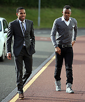 Pictured L-R: Kenji Gorre and Jordan Ayew Wednesday 18 May 2017<br />Re: Swansea City FC, Player of the Year Awards at the Liberty Stadium, Wales, UK.