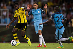 Borussia Dortmund striker Ousmane Dembele (l) fights for the ball with Manchester City midfielder Fernandinho Roza (r) during the match against Manchester City FC at the 2016 International Champions Cup China match at the Shenzhen Stadium on 28 July 2016 in Shenzhen, China. Photo by Victor Fraile / Power Sport Images