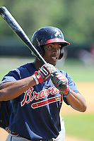 Outfielder Blake Brown (11) of the Atlanta Braves farm system in a Minor League Spring Training workout on Monday, March 16, 2015, at the ESPN Wide World of Sports Complex in Lake Buena Vista, Florida. (Tom Priddy/Four Seam Images)