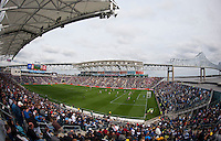 The crowd watches second half action at PPL Park in Chester, PA.  New York defeated Philadelphia, 3-0.