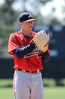Pitcher Bradley Roney (50) of the Atlanta Braves farm system in a Minor League Spring Training workout on Monday, March 16, 2015, at the ESPN Wide World of Sports Complex in Lake Buena Vista, Florida. (Tom Priddy/Four Seam Images)