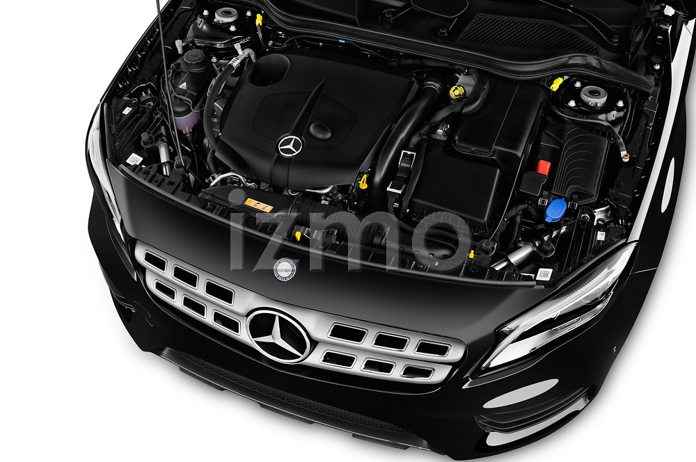 Car stock 2017 Mercedes Benz GLA AMG Line 5 Door SUV engine high angle detail view