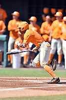 Tennessee Volunteers left fielder Jay Charleston (4) runs to first during a game against the South Carolina Gamecocks at Lindsey Nelson Stadium on March 18, 2017 in Knoxville, Tennessee. The Gamecocks defeated Volunteers 6-5. (Tony Farlow/Four Seam Images)