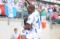 Honduras Ascar Boniek Garcia (14) celebrates Jerry Bengtson (9) score.   Honduras defeated Costa Rica in Penalty Kick 4-2 in the quaterfinals for the 2011 CONCACAF Gold Cup , at the New Meadowlands Stadium, Saturday June 18, 2011.