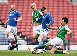 St Johnstone v Hibs…22.05.21  Scottish Cup Final Hampden Park<br />Glenn Middleton is tackled by Josh Doig and Joe Newell<br />Picture by Graeme Hart.<br />Copyright Perthshire Picture Agency<br />Tel: 01738 623350  Mobile: 07990 594431
