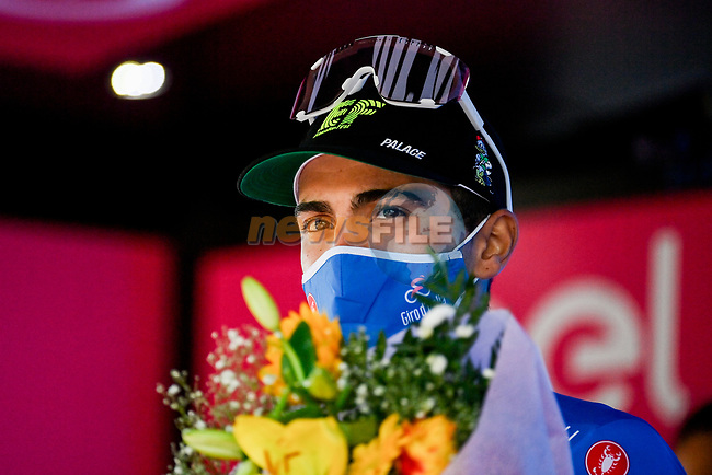 Ruben Guerreiro (POR) EF Pro Cycling retains the mountains Maglia Azzurra at the end of Stage 13 of the 103rd edition of the Giro d'Italia 2020 running 192km from Cervia to Monselice, Italy. 16th October 2020.  <br /> Picture: LaPresse/Marco Alpozzi | Cyclefile<br /> <br /> All photos usage must carry mandatory copyright credit (© Cyclefile | LaPresse/Marco Alpozzi)