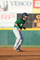 Luis Guillorme (13) of the Savannah Sand Gnats takes his lead off of second base against the Hickory Crawdads at L.P. Frans Stadium on June 15, 2015 in Hickory, North Carolina.  The Crawdads defeated the Sand Gnats 4-1.  (Brian Westerholt/Four Seam Images)