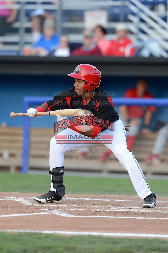 Batavia Muckdogs outfielder Wildert Pujols (15) during a game against the Williamsport Crosscutters on September 4, 2013 at Dwyer Stadium in Batavia, New York.  Williamsport defeated Batavia 6-3 in both teams season finale.  (Mike Janes/Four Seam Images)