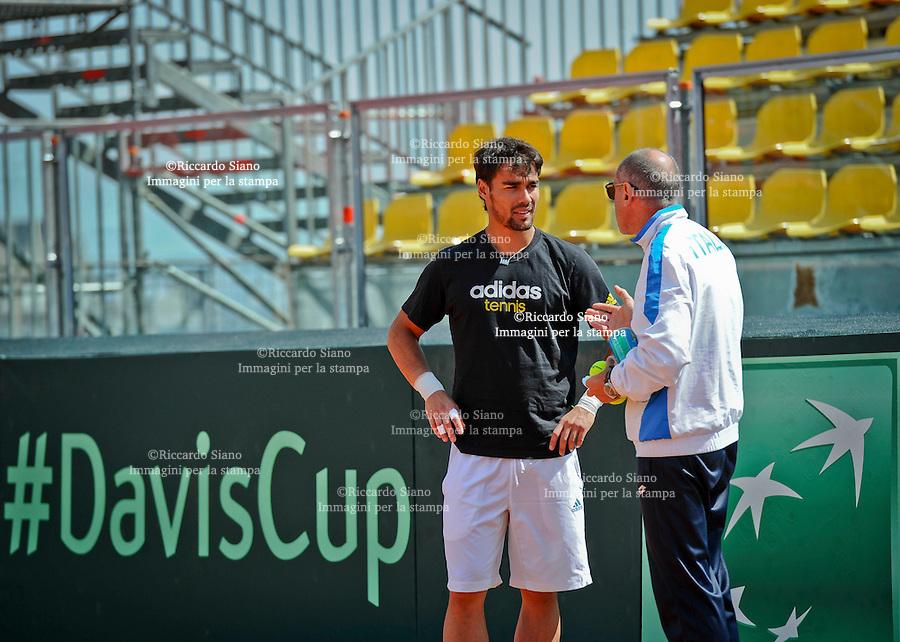 - NAPOLI 2 APR  2014 -  Coppa Davis  Italia-Gran Bretagna <br /> allenamenti. nella foto Corrado Barazzutti e Fabio Fognini