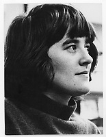 Marie-Claire Blais vers 1967-68<br /> (date exacte inconnue).<br /> <br /> La piece L'Execution, le recit d'un meurtre commis par des eleves dans un college prive,<br />  ecrite par Marie-Claire Blais en 1967, est montee au Theatre du Rideau Vert de Montreal en mars 1968 <br /> <br /> <br /> <br /> PHOTO : Alain Renaud - Agence Quebec Presse<br /> <br /> Les images commandées seront recadrées lorsque requis