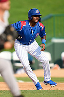 South Bend Cubs Alexander Canario (35) leads off first base during a game against the Quad Cities River Bandits on August 20, 2021 at Four Winds Field in South Bend, Indiana.  (Mike Janes/Four Seam Images)