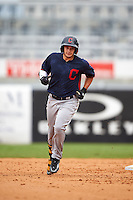 Joe Rizzo (6) Oakton High School in Oak Hill, Virginia runs the bases after hitting a home run playing for the Cleveland Indians scout team during the East Coast Pro Showcase on July 28, 2015 at George M. Steinbrenner Field in Tampa, Florida.  (Mike Janes/Four Seam Images)
