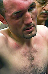 Muhammad Abdullaev after his  WBO Super Lightweight Title fight against Miguel Cotto at Madison Square Garden in NYC on 06.11.05..Cotto won by TKO in the 9th round. Photo by Thierry Gourjon.