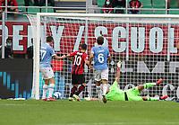 Milano 12-09-2021<br /> Stadio Giuseppe Meazza<br /> Campionato Serie A Tim 2021/22<br /> Milan - Lazio<br /> nella foto:  Leao scoring  goal 1 0                    <br /> foto Antonio Saia -Kines Milano