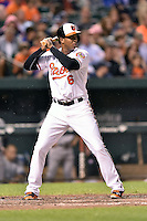 Baltimore Orioles second baseman Jonathan Schoop #6 awaits a pitch during a game against the New York Yankees at Oriole Park at Camden Yards August 11, 2014 in Baltimore, Maryland. The Orioles defeated the Yankees 11-3. (Tony Farlow/Four Seam Images)