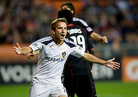Mike Magee (18) celebrates his goal during the game at RFK Stadium.  D.C. United tied the LA Galaxy, 1-1.