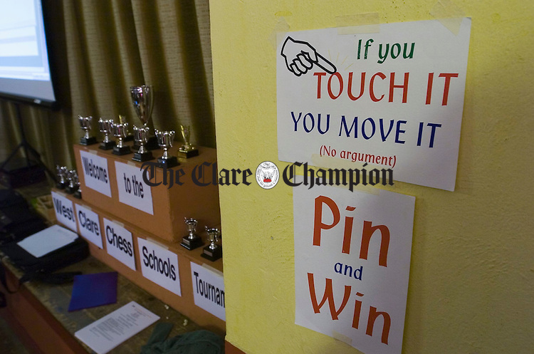 The writing's on the wall.....at the West Clare Chess Schools tournament in Knockerra Hall. Photograph by John Kelly.