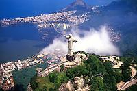 Corcovado Christ Statue - Aerial of Rio de Janeiro, Brazil...