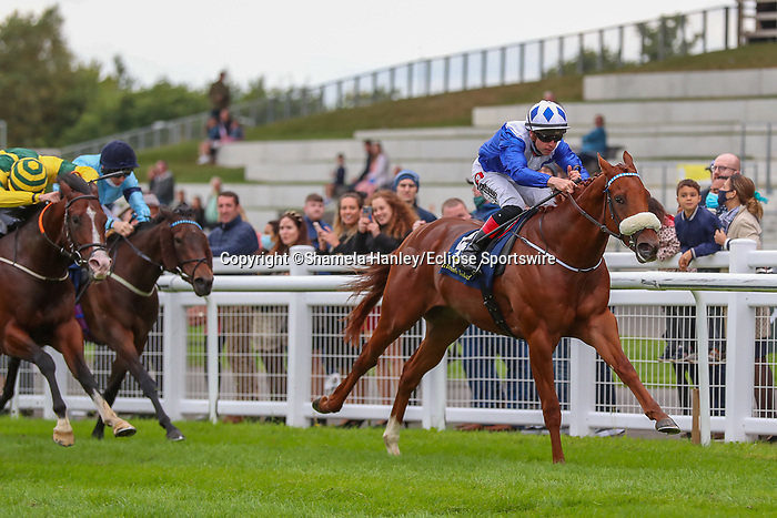 September 12, 2021: King X J (IRE) #4, ridden by jockey Leigh F. Roche wins the Super Auction Sale Stakes on the turf on Irish Champions Weekend at Curragh Racecourse in Kildare, Ireland on September 12th, 2021. Shamela Hanley/Eclipse Sportswire/CSM
