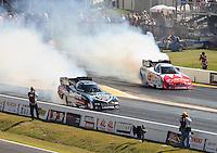 Apr. 29, 2011; Baytown, TX, USA: NHRA funny car drivers Matt Hagan (left) and Johnny Gray during qualifying for the Spring Nationals at Royal Purple Raceway. Mandatory Credit: Mark J. Rebilas-