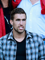 Calcio, Serie A: Roma vs ChievoVerona. Roma, stadio Olimpico, 18 ottobre 2014.<br /> Roma's Kevin Strootman arrives on the stand on the occasion of the Italian Serie A football match between Roma and ChievoVerona at Rome's Olympic stadium, 18 October 2014.<br /> UPDATE IMAGES PRESS/Isabella Bonotto