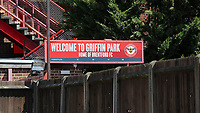 General view of a Welcome to Griffin Park sign at the entrance to the Brook Road Stand during Brentford vs Swansea City, Sky Bet EFL Championship Play-Off Semi-Final 2nd Leg Football at Griffin Park on 29th July 2020