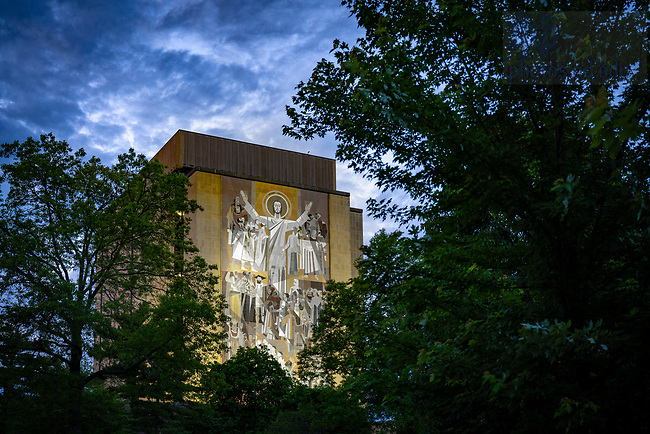 June 1, 2020; Hesburgh Library World of Life mural, commonly known as Touchdown Jesus (Photo by Matt Cashore/University of Notre Dame)