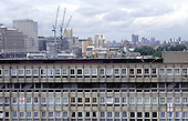 Council flats in Blackwall and new developments in Docklands, Tower Hamlets, East London.