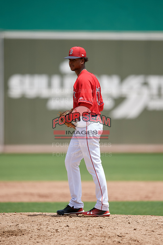 GCL Red Sox starting pitcher Yasel Santana (61) gets ready to deliver a pitch during a game against the GCL Orioles on August 9, 2018 at JetBlue Park in Fort Myers, Florida.  GCL Red Sox defeated GCL Orioles 10-4.  (Mike Janes/Four Seam Images)