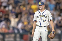 Michigan Wolverines pitcher Jeff Criswell (17) after beating the Vanderbilt Commodores in Game 1 of the NCAA College World Series Finals on June 24, 2019 at TD Ameritrade Park in Omaha, Nebraska. Michigan defeated Vanderbilt 7-4. (Andrew Woolley/Four Seam Images)