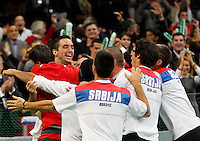 Members of the Serbian national tennis team celebrate after they won the 2010 Davis Cup finals against France in Belgrade, Serbia, Sunday, Dec. 5, 2010..(Srdjan Stevanovic/Starsportphoto ©)