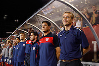 United States head coach Jurgen Klinsmann (R) with coaches (R to L) assistant coach Martin Vasquez, assistant coach Tab Ramos, and goalkeeper coach Mike Curry. The men's national teams of the United States (USA) and Mexico (MEX) played to a 1-1 tie during an international friendly at Lincoln Financial Field in Philadelphia, PA, on August 10, 2011.