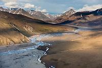 Aerial of the Kongakut River, Arctic National Wildlife Refuge, Brooks Range mountains, Alaska.