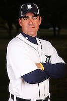 February 27, 2010:  Coach Andy Barkett of the Detroit Tigers poses for a photo during media day at Joker Marchant Stadium in Lakeland, FL.  Photo By Mike Janes/Four Seam Images