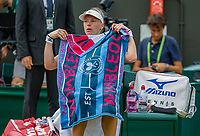 London, England, 9 th. July, 2018, Tennis,  Wimbledon, Womans single fourth round: Kiki Bertens (NED) at changeover in her match against Karolina Pliskova (CZE)<br /> Photo: Henk Koster/tennisimages.com