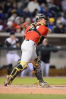 Bowling Green Hot Rods catcher Justin O'Conner #10 during a game against the Dayton Dragons on April 20, 2013 at Fifth Third Field in Dayton, Ohio.  Dayton defeated Bowling Green 6-3.  (Mike Janes/Four Seam Images)