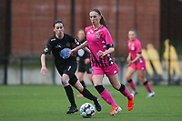 Osma Magaly Guiteras (28) of Woluwe and Ludmila Matavkova (9) of Charleroi pictured during a female soccer game between Sporting Charleroi and White Star Woluwe on the 7 th matchday in play off 2 of the 2020 - 2021 season of Belgian Scooore Womens Super League , friday 14 th of May 2021  in Marcinelle , Belgium . PHOTO SPORTPIX.BE | SPP | Sevil Oktem