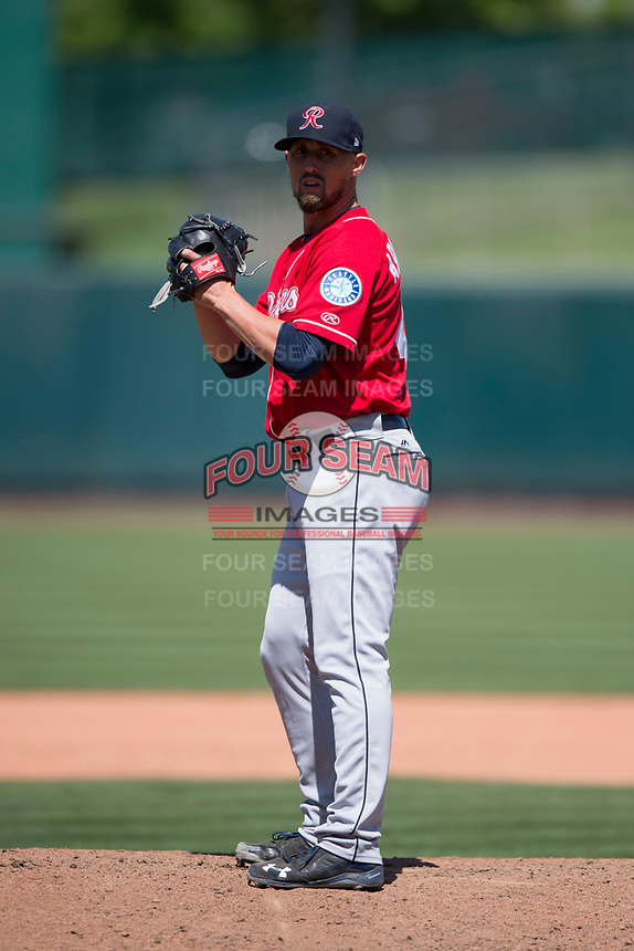 Tacoma Rainiers relief pitcher Shawn Armstrong (43) prepares to deliver a pitch during a Pacific Coast League game against the Sacramento RiverCats at Raley Field on May 15, 2018 in Sacramento, California. Tacoma defeated Sacramento 8-5. (Zachary Lucy/Four Seam Images)