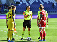 referee Caroline Lanssens pictured with goalkeeper Justien Odeurs (13) of Anderlecht and Maud Coutereels (17) of Standard during a female soccer game between RSC Anderlecht Dames and Standard Femina de Liege on the sixth matchday of the 2021 - 2022 season of Belgian Womens Super League , saturday 9 th of October 2021  in Brussels , Belgium . PHOTO SPORTPIX | DAVID CATRY