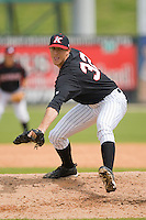 Kyle Bellamy #32 of the Kannapolis Intimidators in action against the Winston-Salem Dash at Fieldcrest Cannon Stadium April 3, 2010, in Kannapolis, North Carolina.  Photo by Brian Westerholt / Four Seam Images
