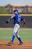 Texas Rangers second baseman Diosbel Arias (73) during an Instructional League game against the San Diego Padres on September 20, 2017 at Peoria Sports Complex in Peoria, Arizona. (Zachary Lucy/Four Seam Images)