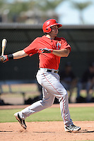 Los Angels Angels of Anaheim first baseman Eric Aguilera (10) during an instructional league game against the Colorado Rockies on September 30, 2013 at Tempe Diablo Stadium Complex in Tempe, Arizona.  (Mike Janes/Four Seam Images)