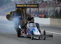 Mar. 10, 2012; Gainesville, FL, USA; NHRA top fuel dragster driver Cory McClenathan during qualifying for the Gatornationals at Auto Plus Raceway at Gainesville. Mandatory Credit: Mark J. Rebilas-