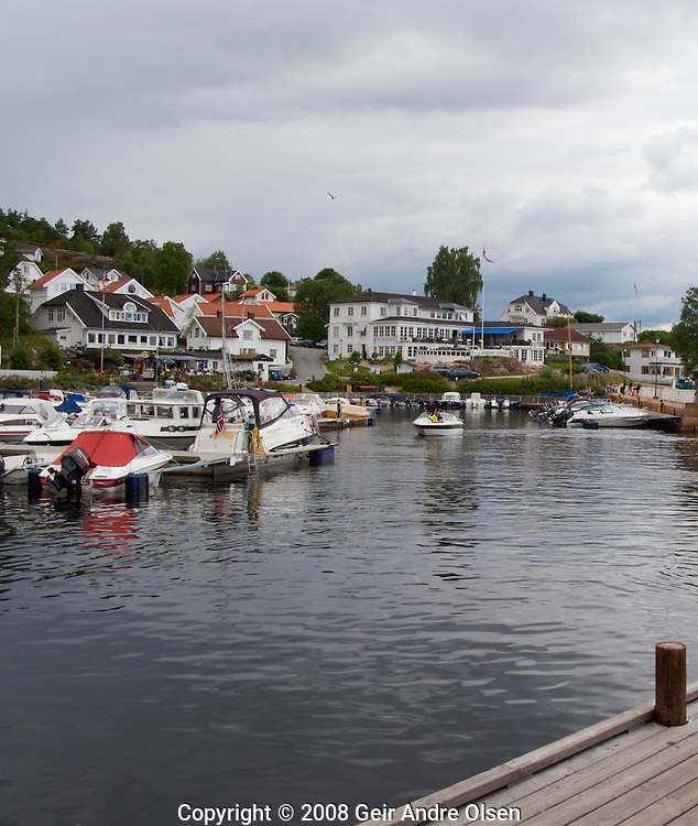 Overlooking the harbor of Holmsbu, towards Holmsbu bath and hotel just outside Oslo, Norway