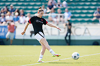 CARY, NC - SEPTEMBER 12: Olivia Moultre #42 of the Portland Thorns warms up before a game between Portland Thorns FC and North Carolina Courage at WakeMed Soccer Park on September 12, 2021 in Cary, North Carolina.