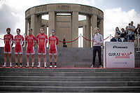 Team Cofidis only started the race with 5 riders.  Team presentation with the King Albert I monument, World War I Memorial, in the background. <br /> <br /> <br /> 1st Great War Remembrance Race 2018 (UCI Europe Tour Cat. 1.1) <br /> Nieuwpoort > Ieper (BE) 192.7 km