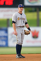 Third baseman Rob Lyerly #16 of the Charleston RiverDogs on defense against the Kannapolis Intimidators at Fieldcrest Cannon Stadium May 29, 2010, in Kannapolis, North Carolina.  Photo by Brian Westerholt / Four Seam Images