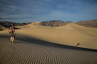 Patterns and ripples produced by erosion are the dominant features of Eureka Dunes at Death Valley National Park, California