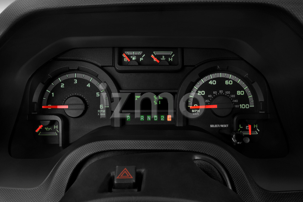 Instrument panel close up detail view of a 2009 Ford E 150 Cargovan